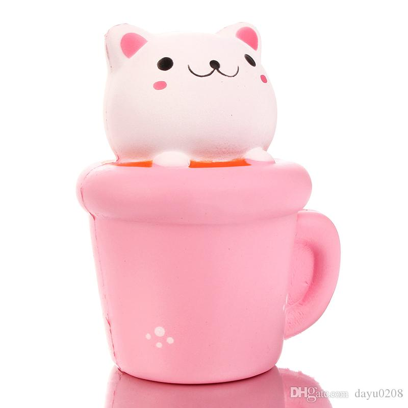 2017 New Jumbo Solw Rising Paper cups cat Squishy toys 10S queeze Toy Phone Charm Soft Squishies Emotional venting tool