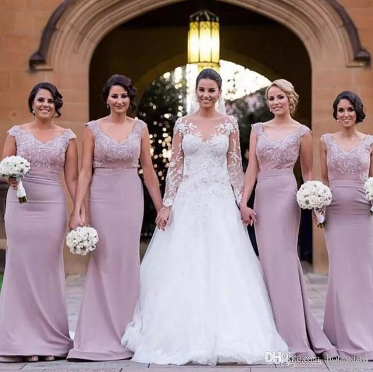 2017 Elegant Off The Shoulder Bridesmaid Dresses V Neck