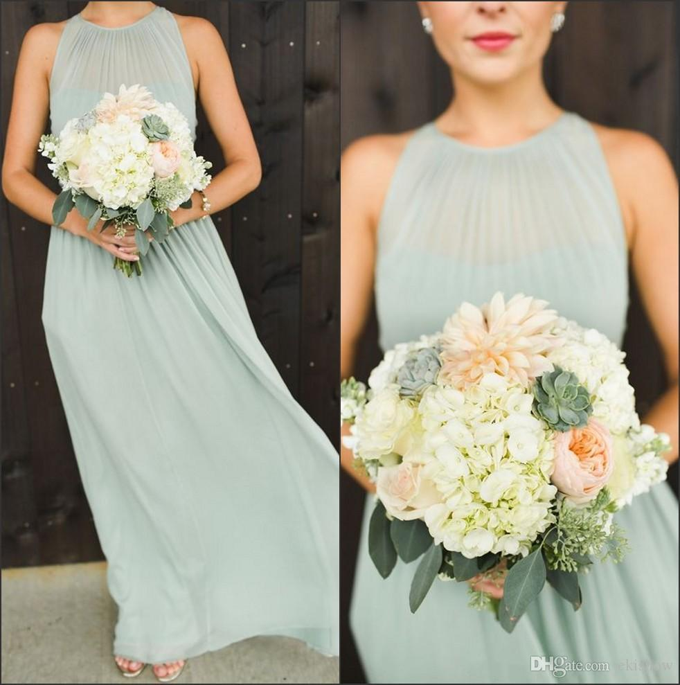 2017 Sexy Halter Neck Chiffon Long Prom Dresses Top Ruffles Backless Mint Chiffon A Line Floor Length Summer Beach Party Bridesmaid Dresses