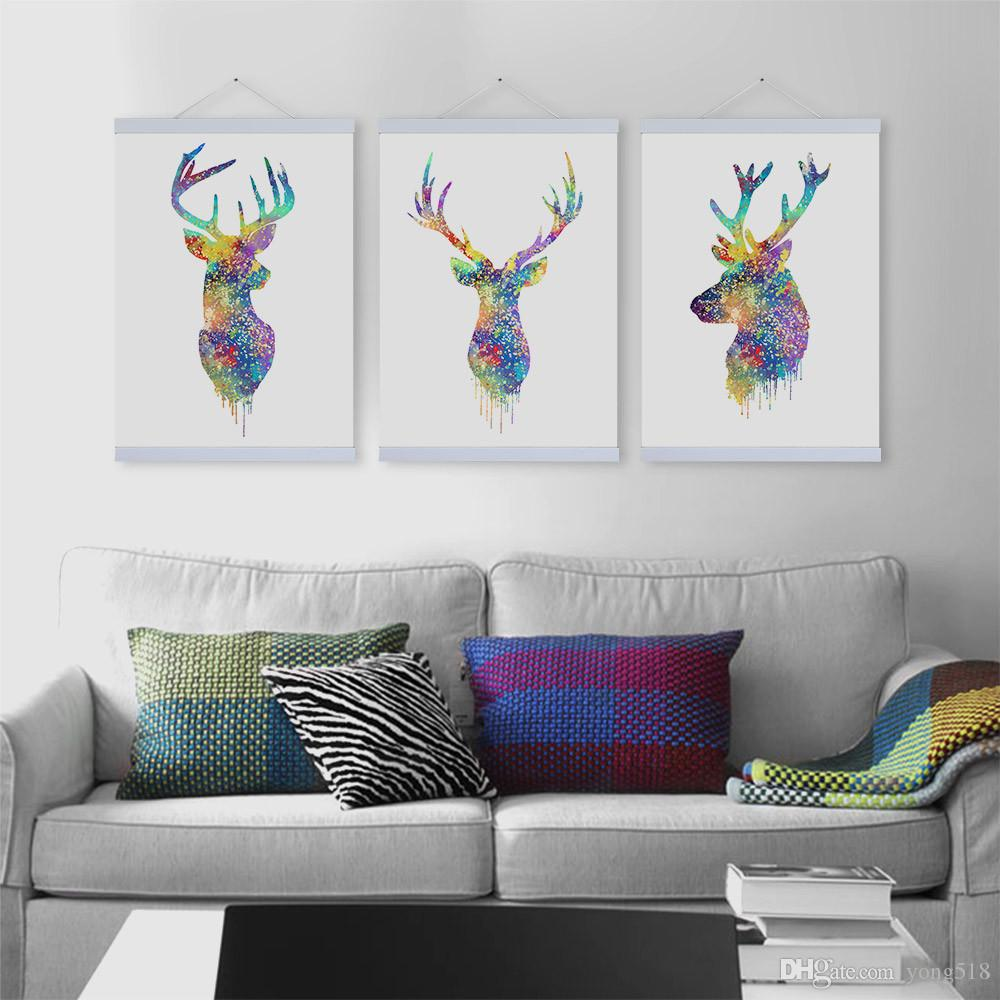 2017 Colorful Deer Art Painting Modern Home Living Room Wall Decoration Artwork Hd Print Picture Animal Canvas Unframed From Yong518 1609