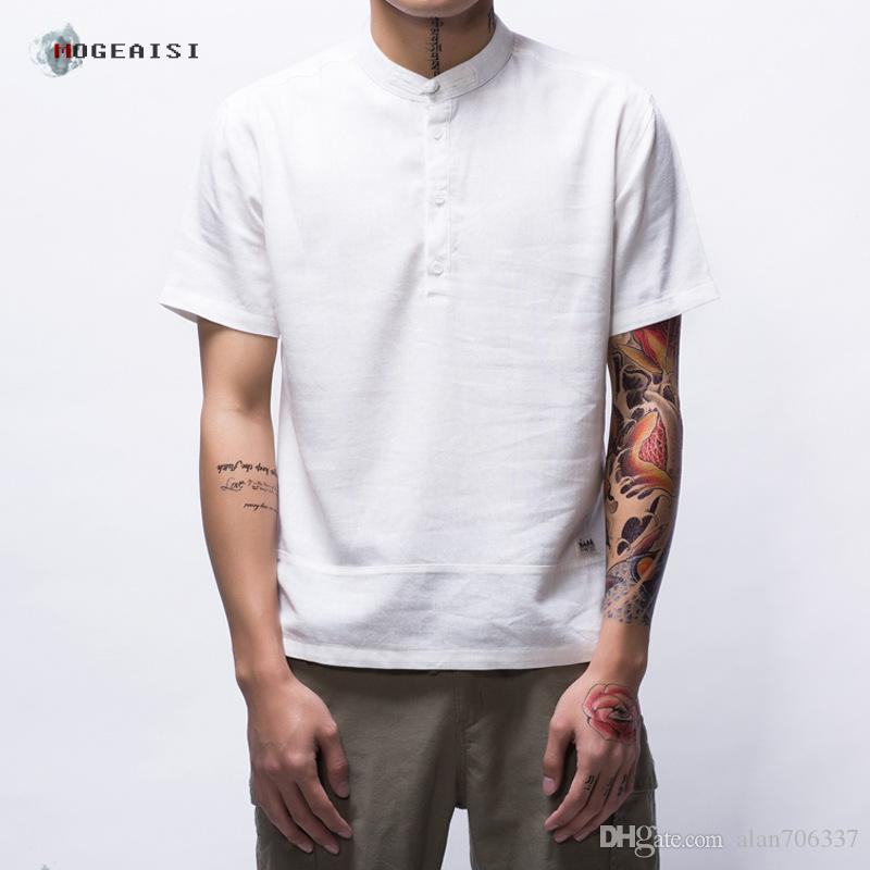 99570f388be Men S Cotton Linen Shirts Pullover Short Sleeve Summer T Shirts Solid Slim  Fit Male Fashion Clothes Asian Size TS 194 As T Shirts Fun Tee Shirts From  ...