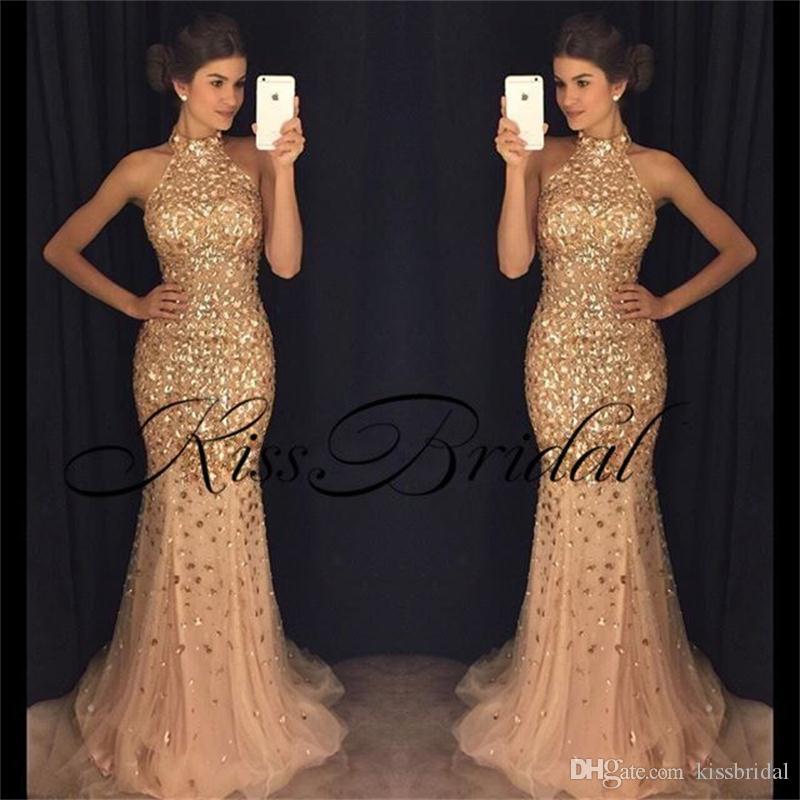 Champagne Gold Ballkleider Meerjungfrau Mantel Hoher Kragen Kristall Perlen Formale Abendkleider Open Back Pageant Kleid
