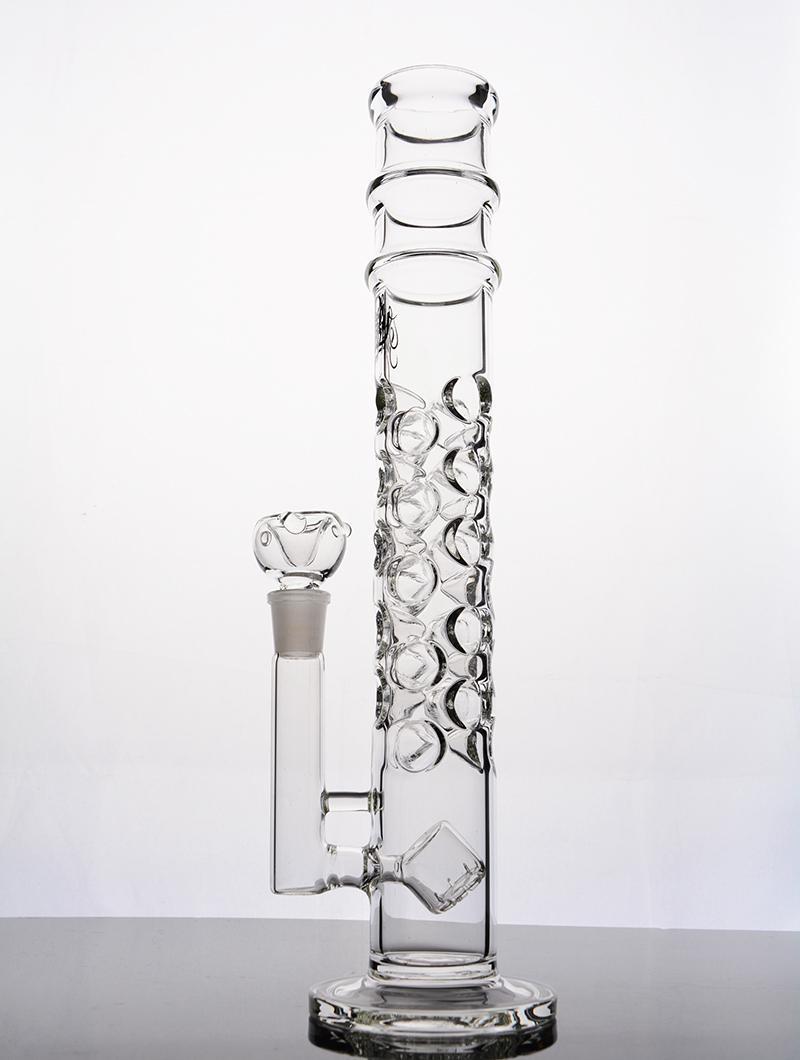 Vidrio de 16 pulgadas de espesor Bongs de vidrio rectos cabeza de ducha perc agujeros completos Tubo de agua de vidrio con junta de 14 mm