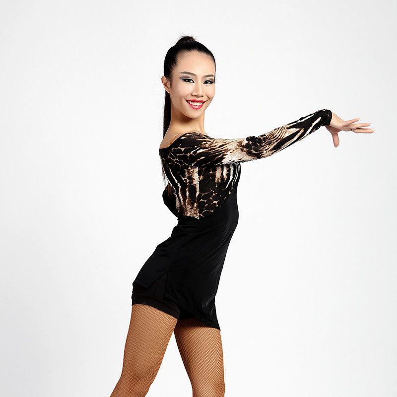 Neue Latin Dance Kleid Erwachsene Sexy Leopard Sasa Rumba Rumba Tango tango ballsaal wettbewerb anzug kostüm Latin dance praxis T-shirt