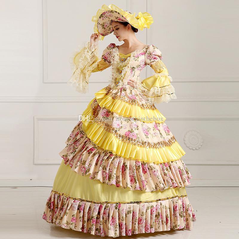 Benutzerdefinierte 2016 Retro Gelb Blumendruck 18. Jahrhundert viktorianischen Kleider Kostüm Renaissance Marie Antoinette Ballkleider für Frauen