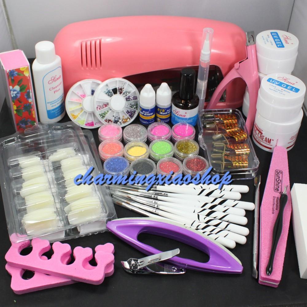 Wholesale Pro Nail Art Uv Gel Kits Tools Pink Uv Lamp Brush Tips ...