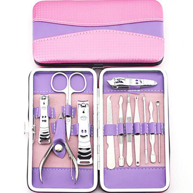 12 stücke Komplette Nail art Maniküre Set Pediküre Nagelknipser Schere Grooming Kit Besten Nagelpflege Werkzeuge