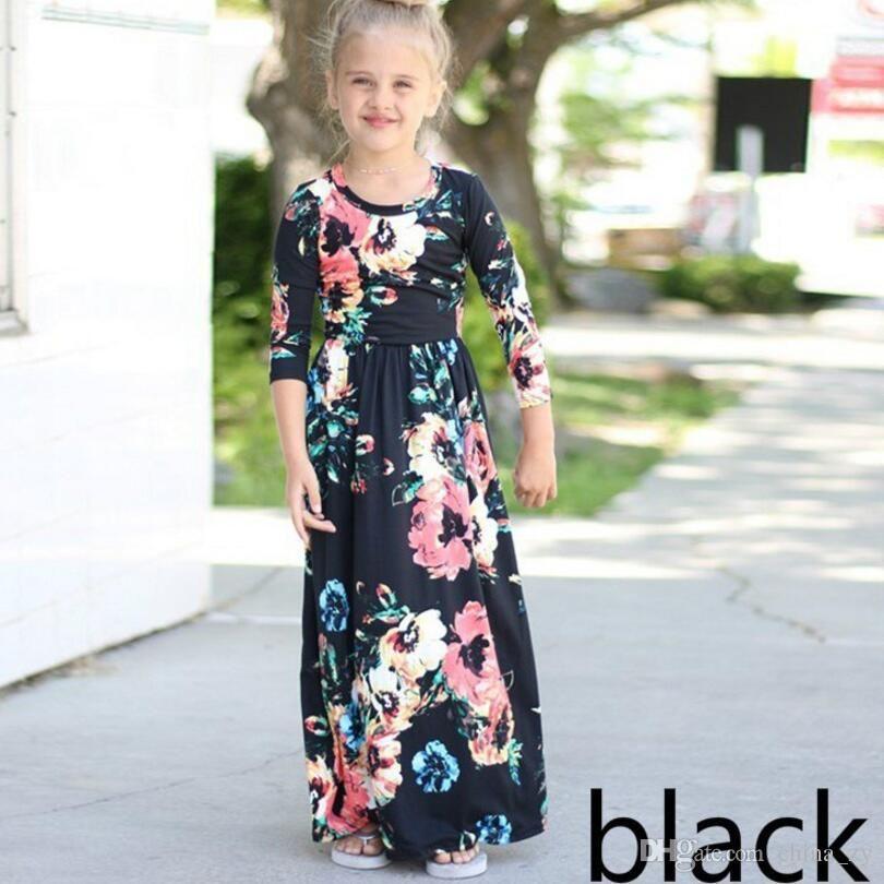 886620e69 Compre Vestido Longo De Moda Tendência Bohemian Vestido Para Meninas Praia  Túnica Floral Outono Maxi Vestidos De Festa De Princesa Crianças Vestidos  De ...