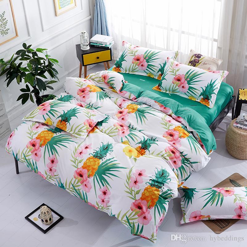Pineapple Blossom Fruit Bedding Set White Green Duvet