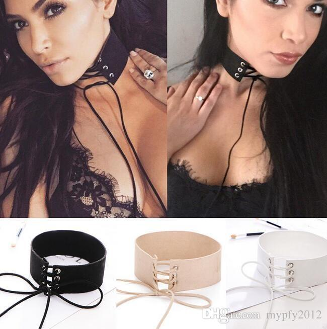 New Fashion Black Leather Cord Tie Chokers Necklace Women Wide Bib Collar Gothic Necklaces Chunky Statement Jewelry LX
