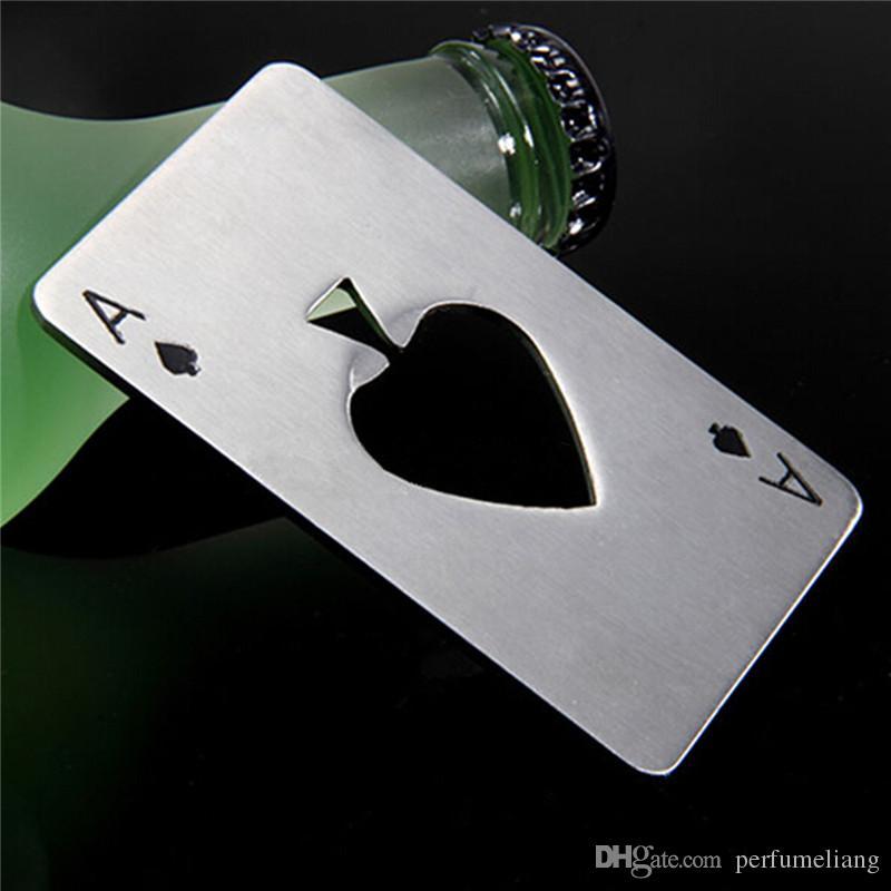 크리 에이 티브 포커 카드 맥주 병 오프너 개인화 된 재미 있은 스테인레스 스틸 신용 카드 병 오프너 카드 스페이드 바 도구 S201702