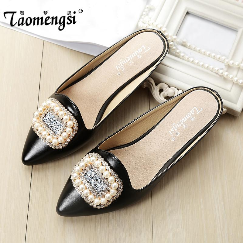 4b02fb125d5 Wholesale 2016 Fashion Luxurious Flat Sandals Casual Women Sandal Ladies  Flat Shoes Crystal Pearls Slippers Jack Rogers Sandals White Wedges From  Candd, ...