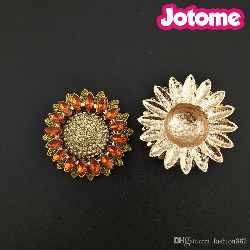 Sonnenblume-Blumenbroschen der flachen rückseitigen Sonnenblume / für Frauenrhinestone-KristallPin-Brosche für Hochzeitsblumenstrauß