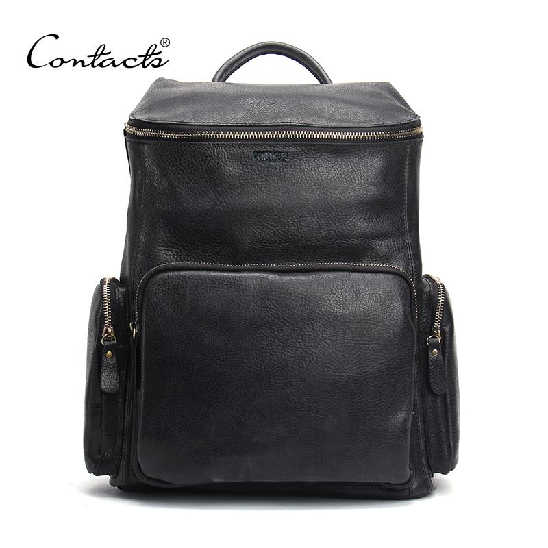 297e6699adb2 Wholesale Contact S High Quality Genuine Leather Backpack Fashion Men  Travel Bags School Bag Brand Design Fashion Leather Backpacks Swiss Backpack  Laptop ...