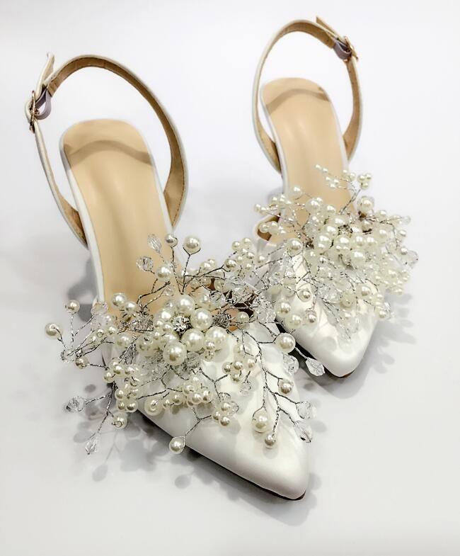 0638f546f6be2 Compre Zapatos De Novia Decorar La Boda Sandalias De Tacón Alto Zapatos De  Estilo Princesa Accesorios De Novia Zapatos De Fiesta Hermoso Patrón  Babysbreath ...