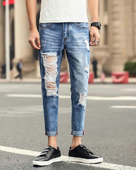 Casual vrac hommes capris Denim Blue Big Pantalon droit Ripped Sarouel Japan Style Vêtements