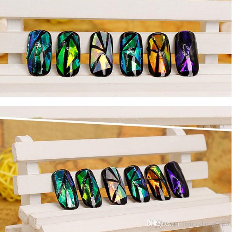 200 시트 네일 스티커 깨진 유리 물 데칼 거울 효과 네일 아트 멋진 펑크 갤럭시 전송 네일 포일