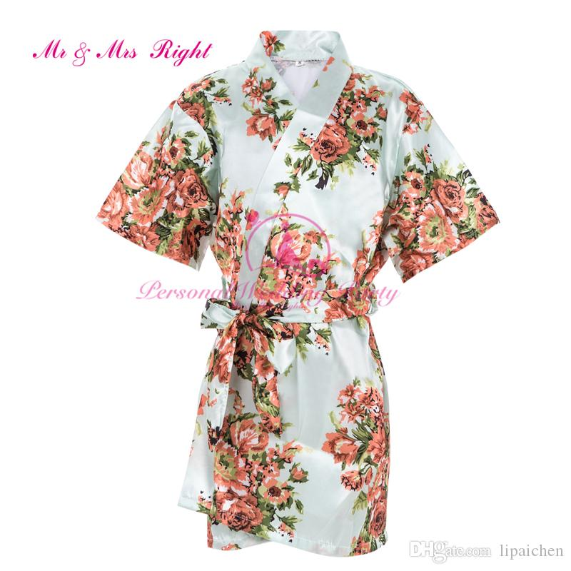 2016 Summer Floral Robes For Girls Silk Kids Wedding Gown Children ...