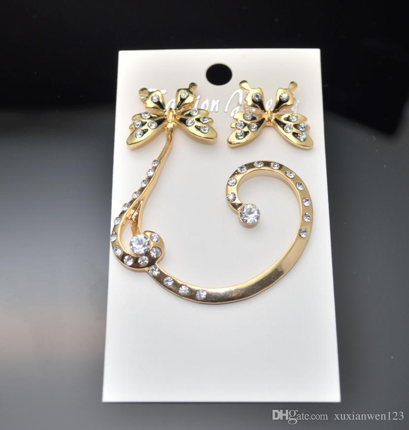 패션 주얼리 클립 나비 Errings 여성을위한 오스트리아 크리스탈 펜던트 스크류 백 귀걸이 Brincos 무료 배송