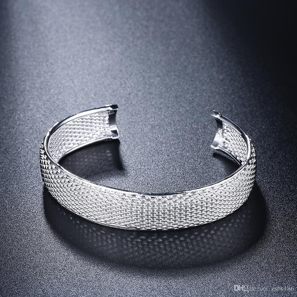 S249 Factory Price 925 sterling silver mesh bangles & ring & stud earrings Fashion Jewelry Set wedding gift