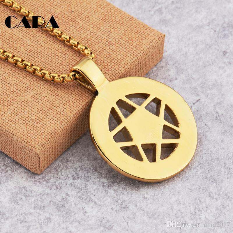 NEW hip hop Necklace Punk Pentacle Five Point Star Moon Pentagram Charm Pendant Circle Men's Gents Dress Chain Necklace Jewelry CAGF017
