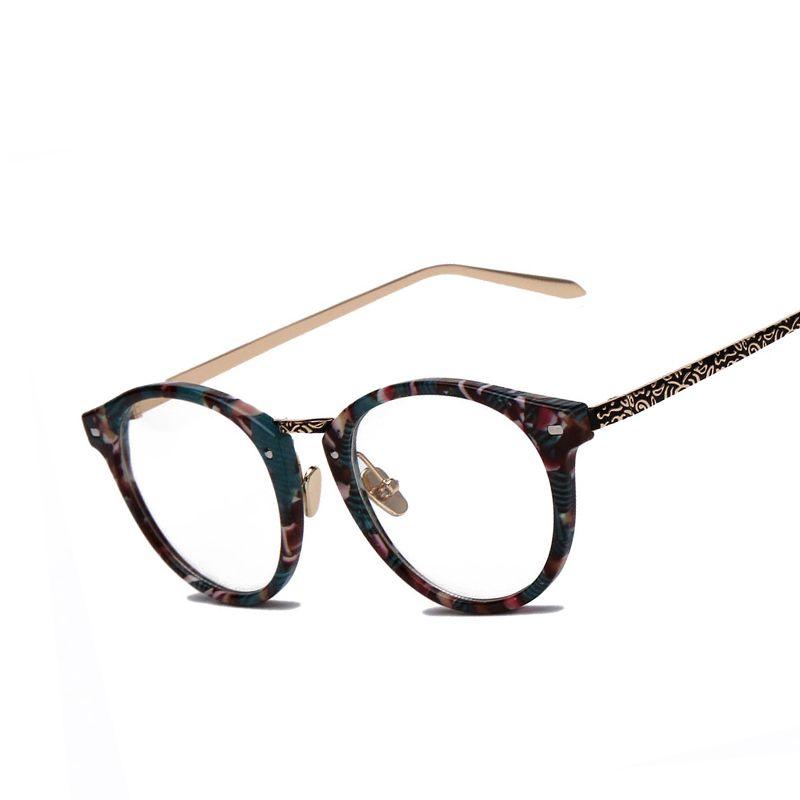3018665d08 2019 Wholesale Retro Round Eyes Glasses Frame Men Women Computer Vintage  Alloy Floral Leg Myopia Classic Female Eyeglasses Frame Plain Glasses From  Jilihua
