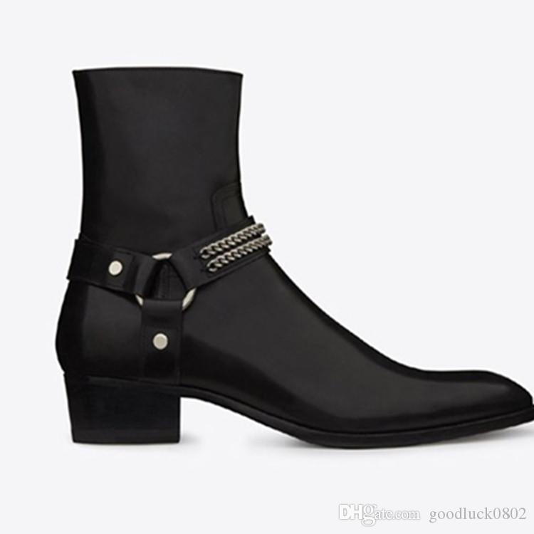 Man Clic Wyatt Chain Harness Boot In Black Leather Slp Chelsea ...