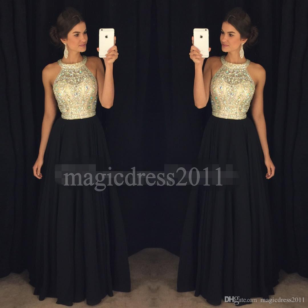 79c3b4e21 2016 Chic Black Prom Evening Dresses Formal Pageant Gowns A Line Halter  Illusion Bodice Major Beaded Chiffon Party Bridesmaid Dress B Darlin Prom  Dresses ...