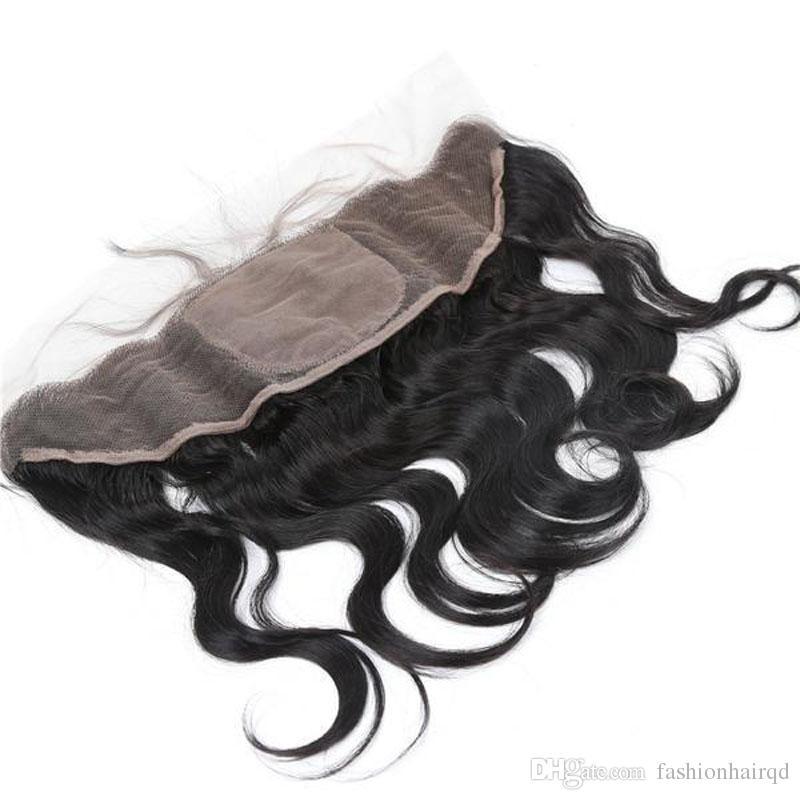 13 * 4 Seide Basis Spitze Frontal Verschluss Körperwelle Brasilianische Peruanische Indische Malaysische Jungfrau-menschenhaar-seide Top Verschluss Mit Baby haar