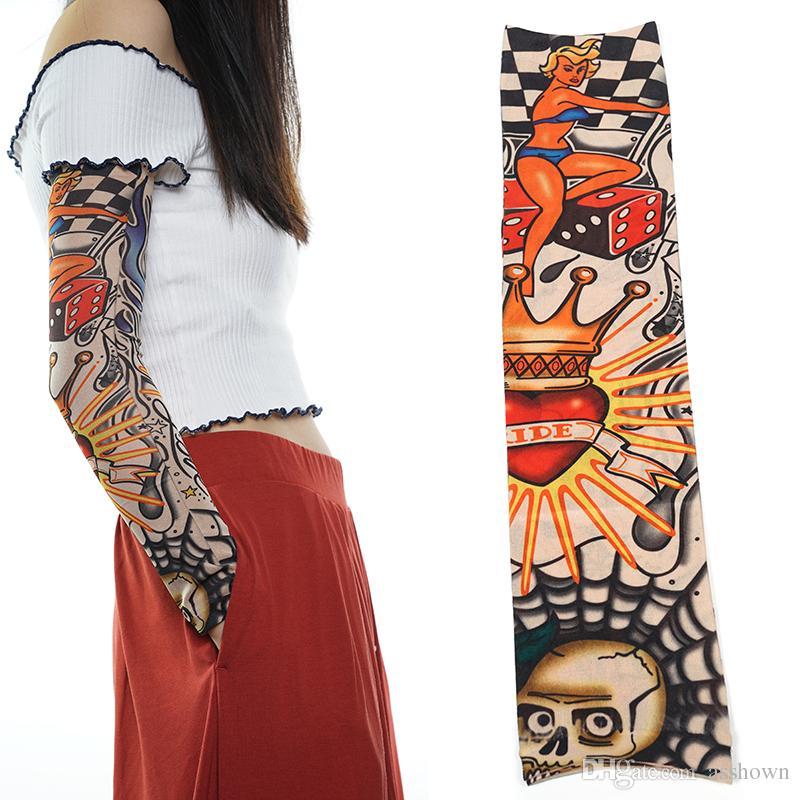 Nuevo Nylon elástico falso tatuaje temporal manga diseños Body Brazo medias Tatoo para hombres frescos mujeres envío gratis