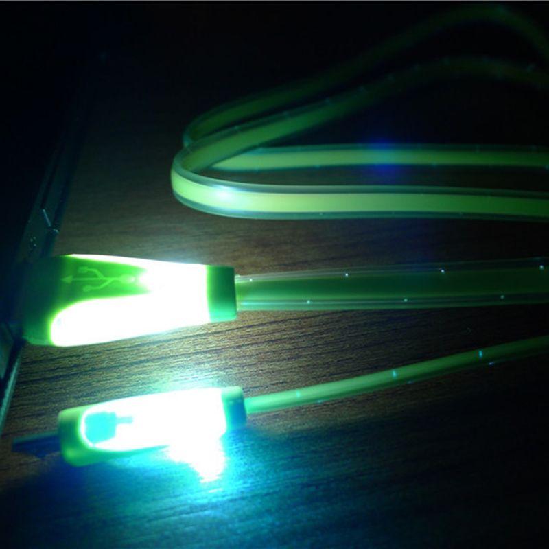 Salut Q plat nouilles LED lumière micro USB câble de charge rapide Sync de charge pour Samsung HTC LG HuaWei OPPO appareils Android