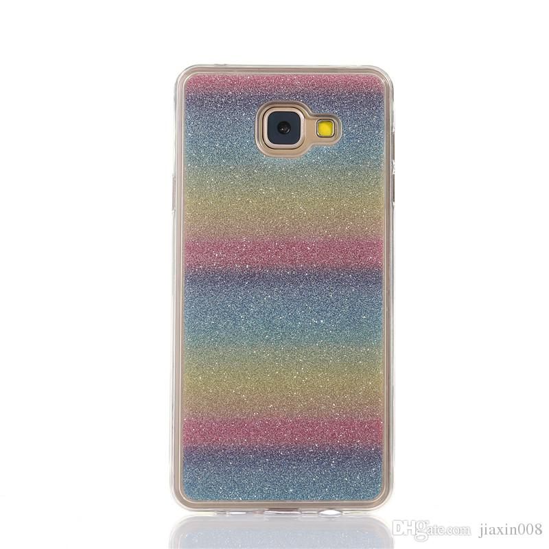 online store 2ff09 6869b For Samsung Galaxy J7 Prime Cover Fashion Bling Glitter Gradient Mobile  Phone Case Soft TPU Frosted Shimmering powder Phone Case