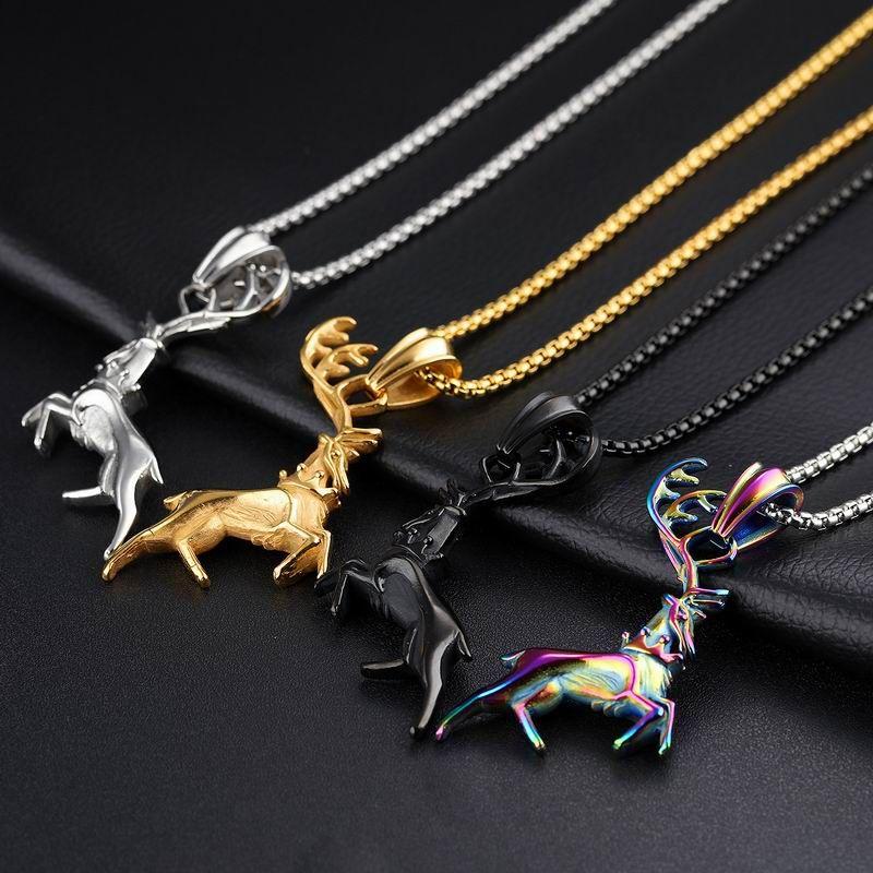 Высокое качество нержавеющей стали 316L ожерелье ювелирные изделия BoyMens олень кулон ожерелье черный/серебро/золото/многоцветный тон