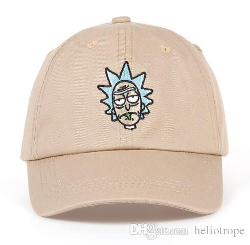 72de9b063aea4 Rick And Morty New Khaki Dad Hat Crazy Rick Baseball Cap American Anime  Cotton Embroidery Snapback Anime Lovers Cap Men Women Big Hats Hat Stores  From ...