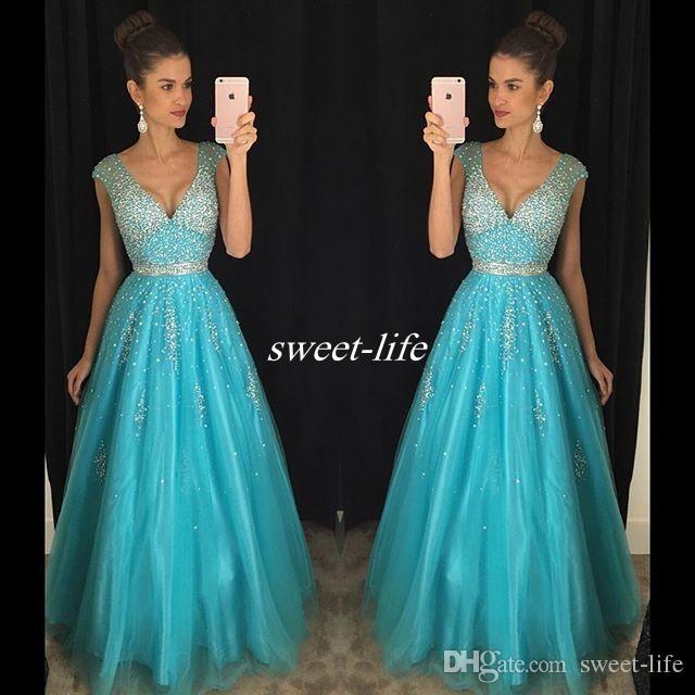Turquoise Tulle Robes De Bal Backless Cap Manches Sparkly Perles Plongeant 2017 Pas Cher Sexy Long Pageant Party Dress Robes De Soirée Sur Mesure