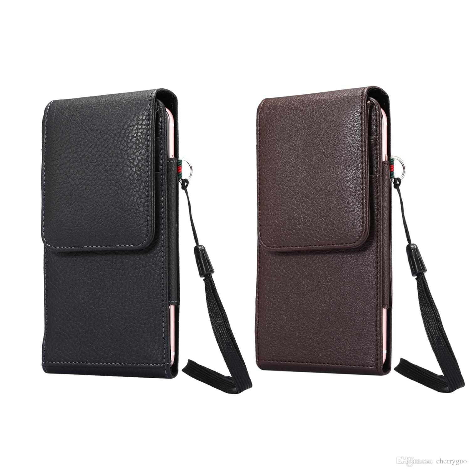 Universal Phone Belt Pouch Case, Vertical Litchi Pattern PU Leather Waist Belt Clip Case with Card Slots and Rope