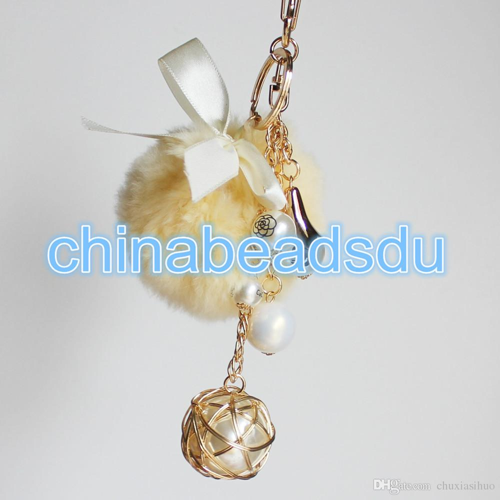 2019 Factory Bulk Wholesale Multi Colors One Piece Handmade Pompon Ball  Acrylic Pearl Charm Alloy Metal Key Chains For Women Girls  Keyring Bag  From ... e086c96c9f