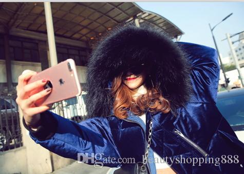 Женский новый элегантный синего цвета бархата белого уток вниз проложенная среднего длиной енот мех с капюшоном утепленных пальто casacos вниз пальто XS-XL