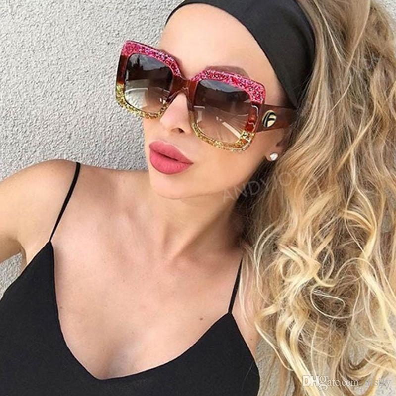 f98c6b10fd Fashion Brand Oversized Square Sunglasses Women Retro Brand Designer ...