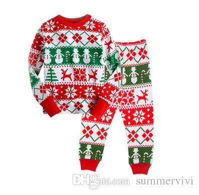 kids christmas pajamas outfits baby girls moose snowman snow printed topspants sets boy cotton long sleeve cartoon sleepwear set r1038 girl christmas