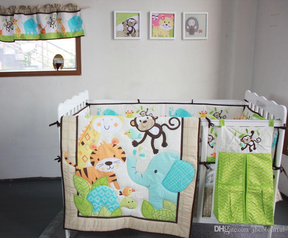 active printing cotton baby boy crib bedding set jungle animal cot bedding comforter bumper bedsheet hot sale nursery accessories comforter for girls linen - Baby Boy Crib Bedding