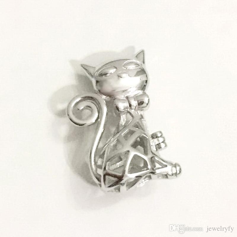 925 sterling silver cat locket cage pendant fitting diy pearl gem 925 sterling silver cat locket cage pendant fitting diy pearl gem bead pendant necklace finding lovely charm cat cage pendant cat locket cage cat pearl aloadofball Gallery