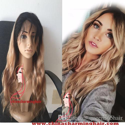 Brazilian Human Hair Full Lace Wig 1B/27 Dark Root Body wave Ombre Lace Front Wig Wigs Blonde Full Lace Wig