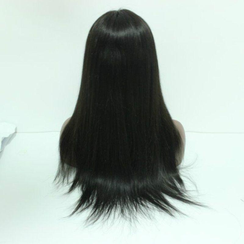 2017 Оптовая 100% Человеческих Волос Шелковистая Прямая Волна Полный Парики Шнурка с Чёлкой для Чернокожих Женщин Китайские человеческие волосы
