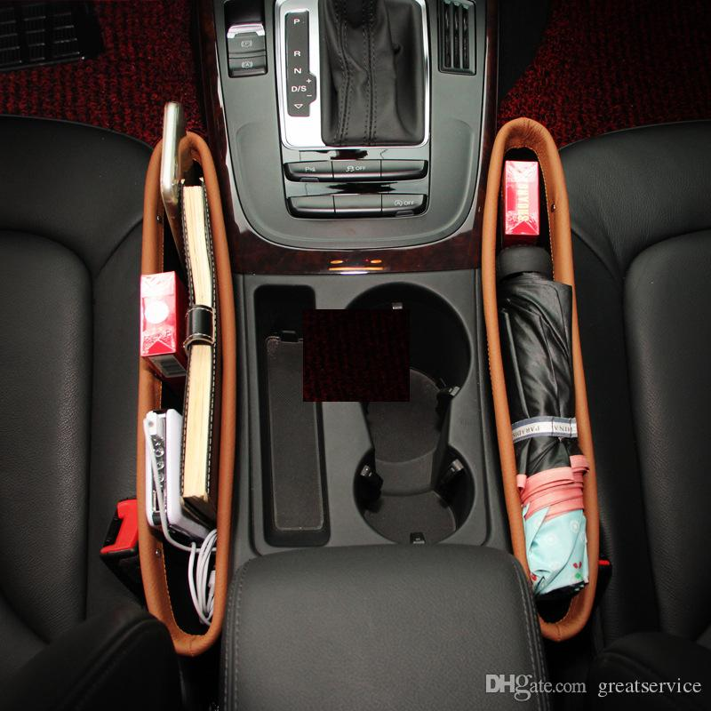Genuine Leather Car Seat Gap Storage Bag Container Stowing Tidying Pocket Leak Proof Auto Organizer Change Holder For Cup