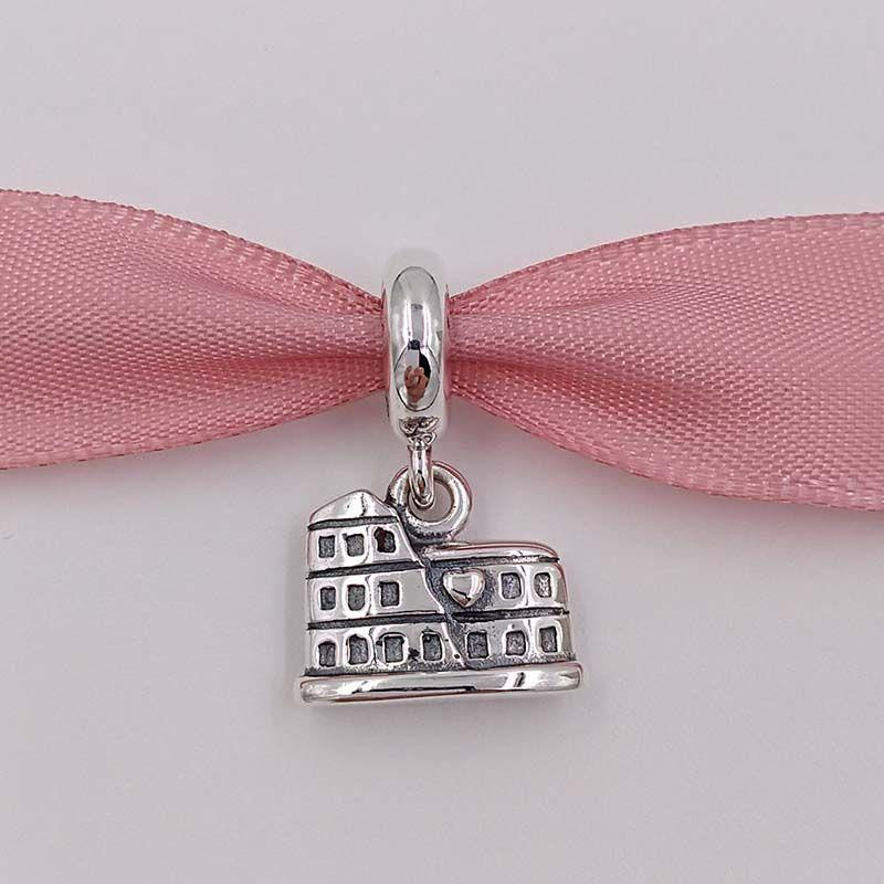 Authentische 925 Sterling Silber Perlen Colosseum Dangle Charms Europäischen Pandora ALE Stil Schmuck Armbänder Halskette