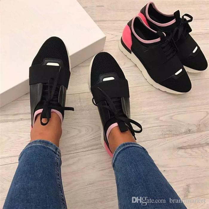2017 Nueva Marca Desnuda Negro Race Runner Shoes Hombre de la Mujer Diseñador de Moda Orange Stripe Lace Up Patchwork de Cuero Mesh Sneaker Casual Shoe