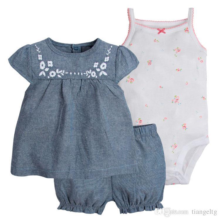 Giyim Setleri 3 adet Elbiseler + Şort Bloomers + Jartiyer Tulum Butik Yenidoğan Bebek Kız Çocuk Bebek Tulumları Yaz Çiçek Çizgili Noktalar