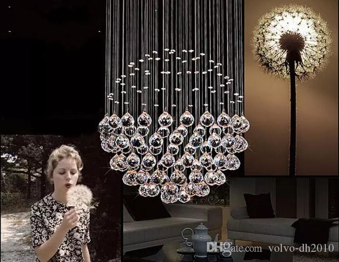New Modern LED Ball K9 Crystal Chandeliers Fashionable Design Lamps Luxury Bulb Lights Hanging Wire Hotel Lighting LLFA