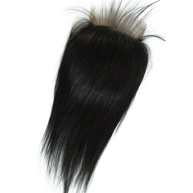 Brésilienne Cheveux Humains Fermeture 4 * 4 vague d'eau cheveux péruviens vague profonde vague de corps droite noeuds blanchis partie libre suisse fermeture à lacet G-EASY
